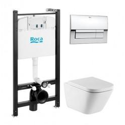 Унитаз ПЭК ROCA GAP Rim-ex подвесной+инсталяц+кнопка+м/л  893104100